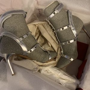 Valentino silver booties size 6 women's New!